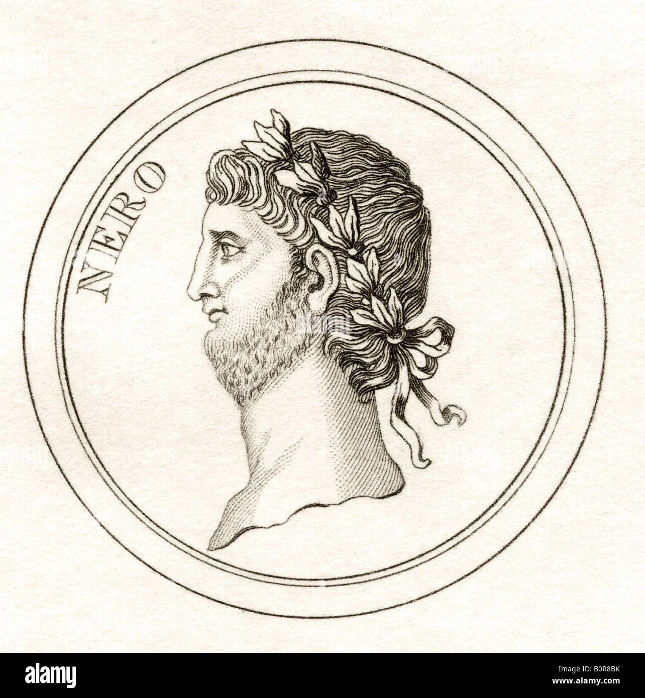 Nero Claudius Caesar Augustus Germanicus AD37 68 Born Lucius Domitius Ahenobarbus - Stock Image