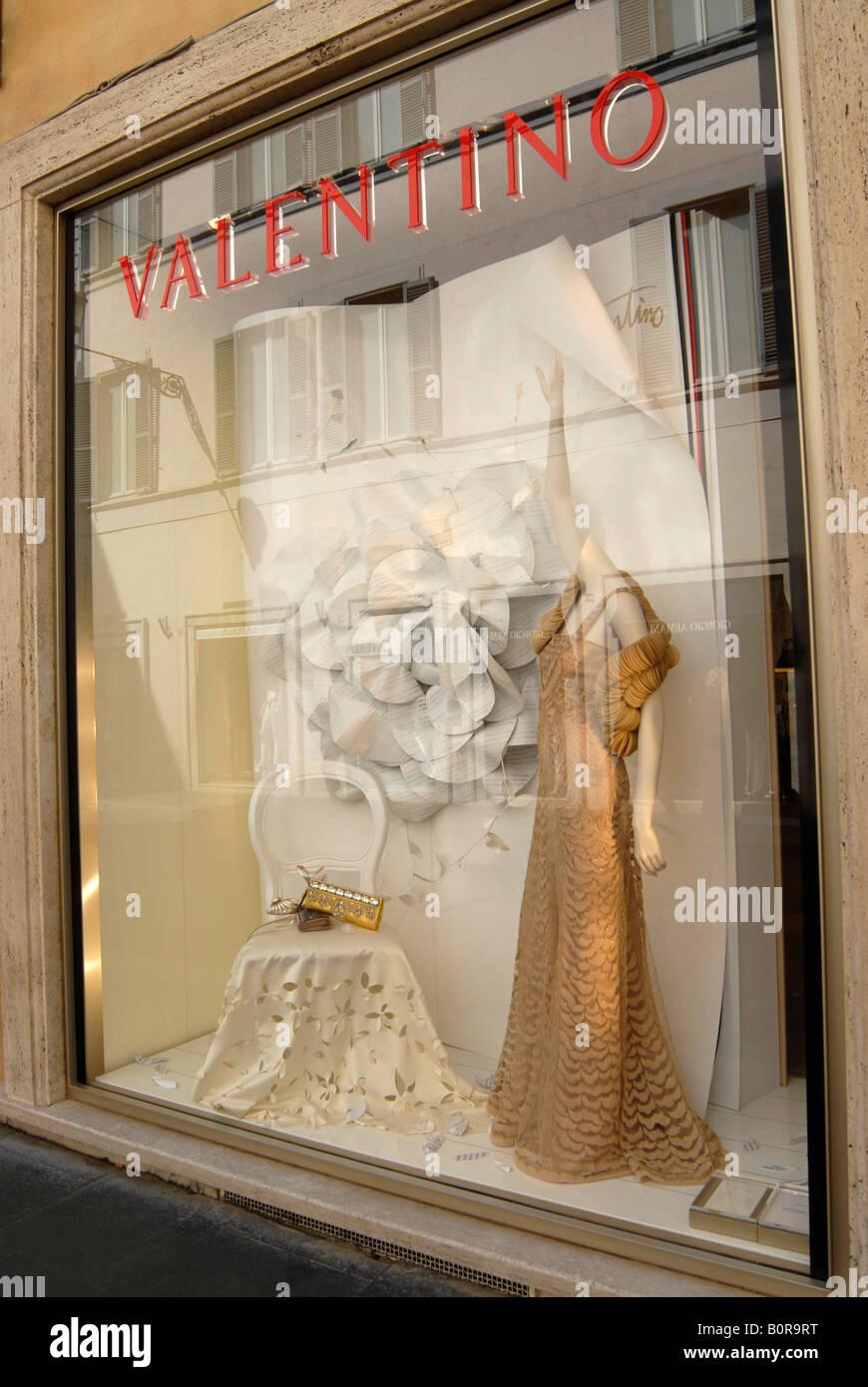 window of Valentino store, via Condotti, Roma, Italy - Stock Image