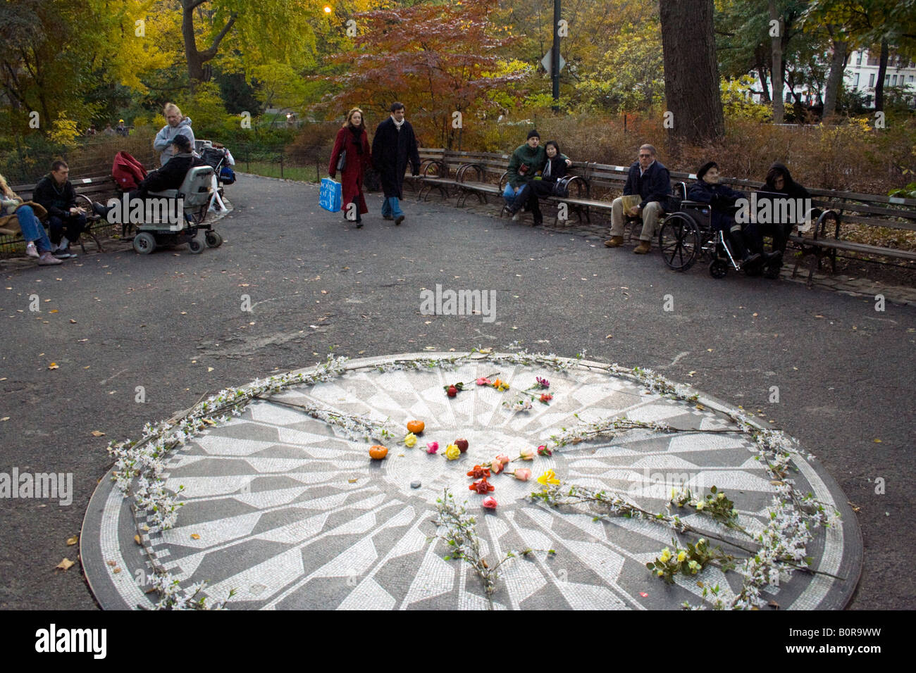 Imagine the memorial to John Lennon in Strawberry Fields Central Park New York City - Stock Image