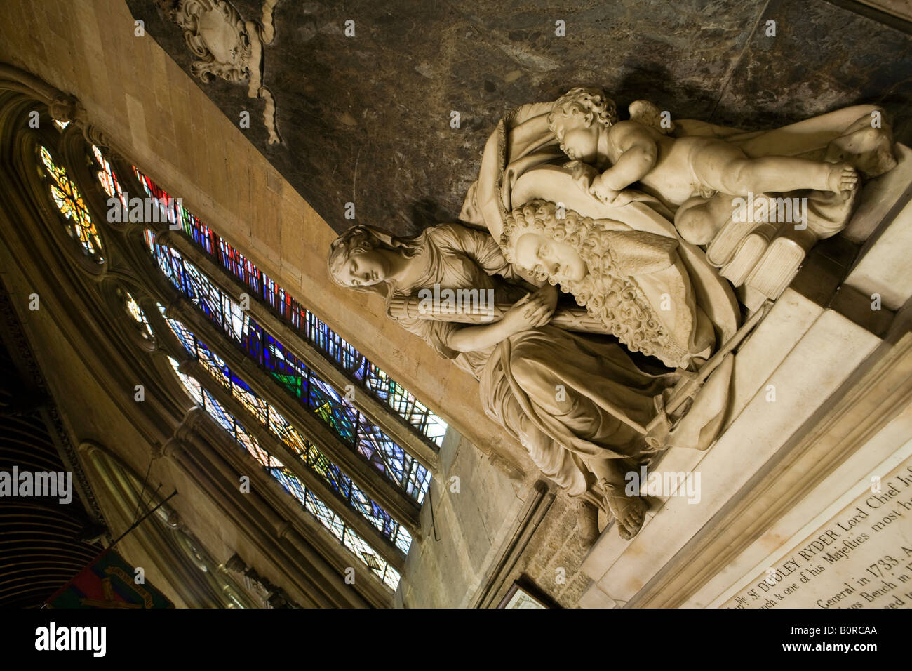 UK England Lincolnshire Grantham St Wulframs Church Dudley Ryder Memorial and Christ on water window - Stock Image