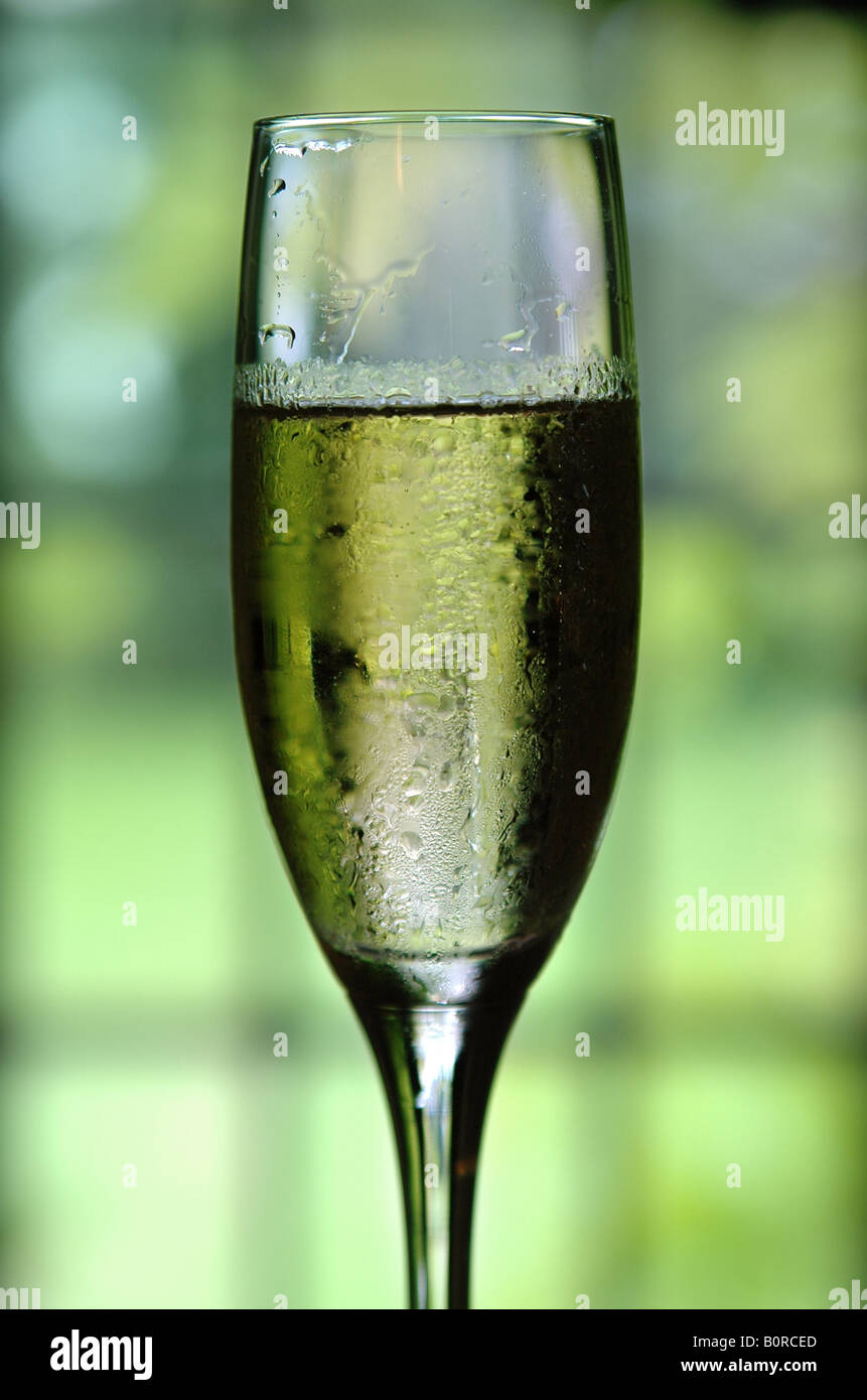 A Glass Of Champagne At A Wedding Reception The Grass Through The
