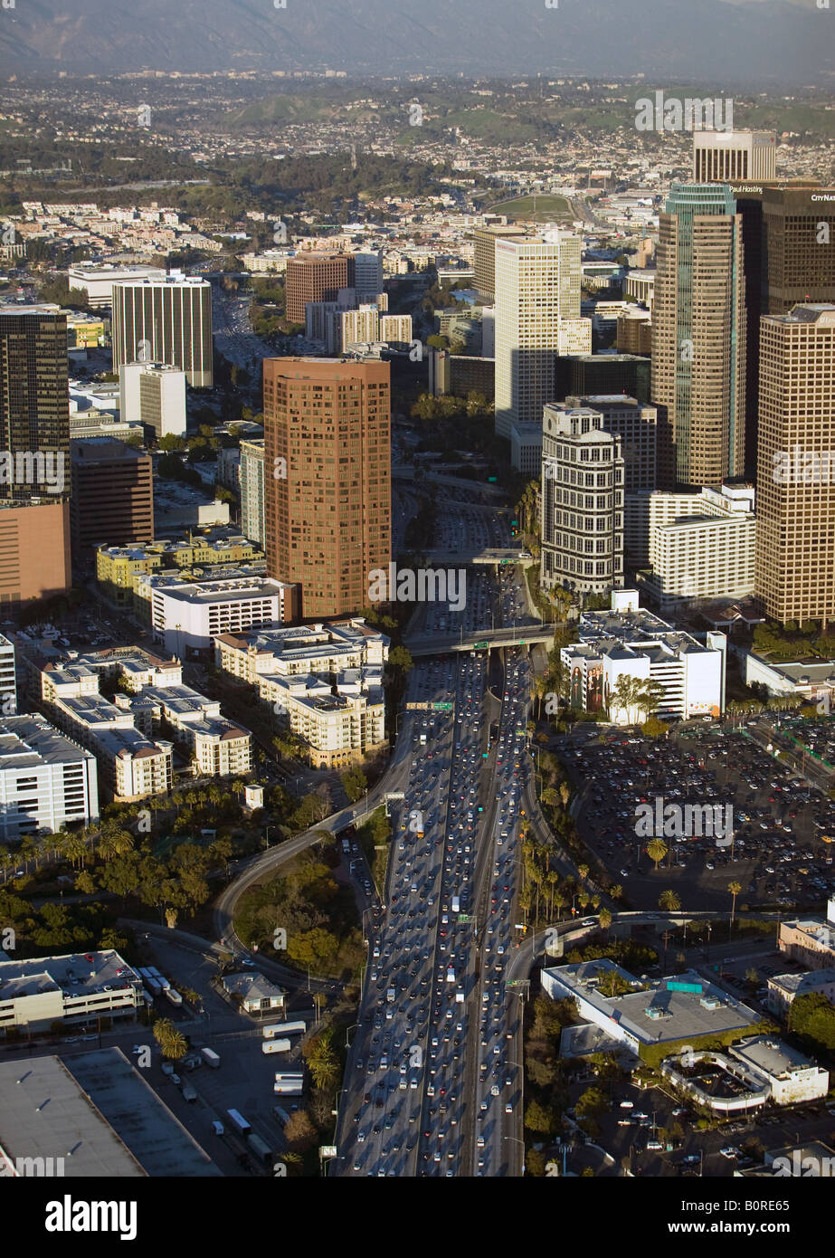 aerial above heavy afternoon traffic on interstate 5 downtown Los Angeles looking to the north Stock Photo
