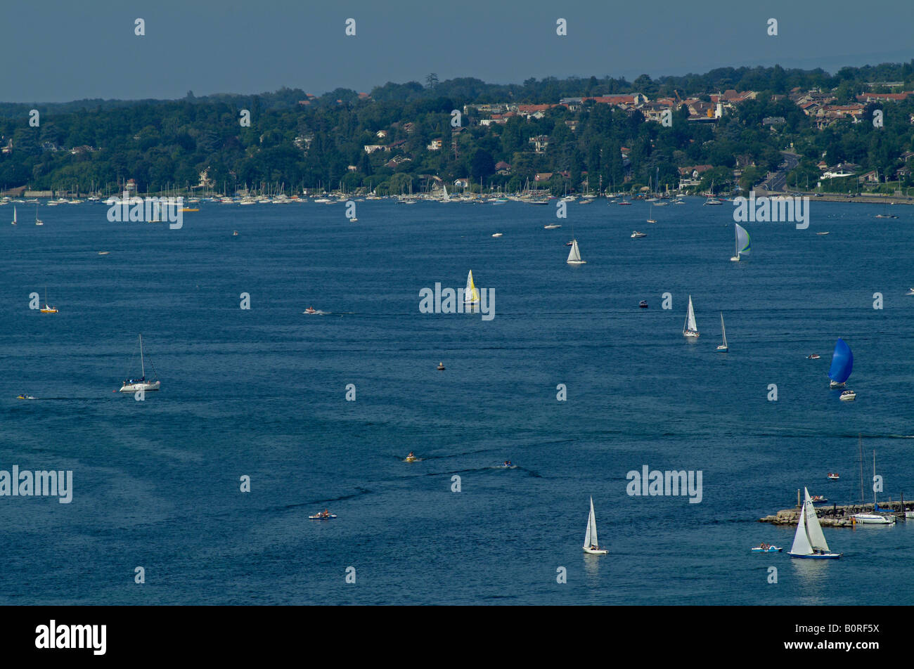 Lake Geneva with sailing boats. View from cathedral. Switzerland. Europe. - Stock Image