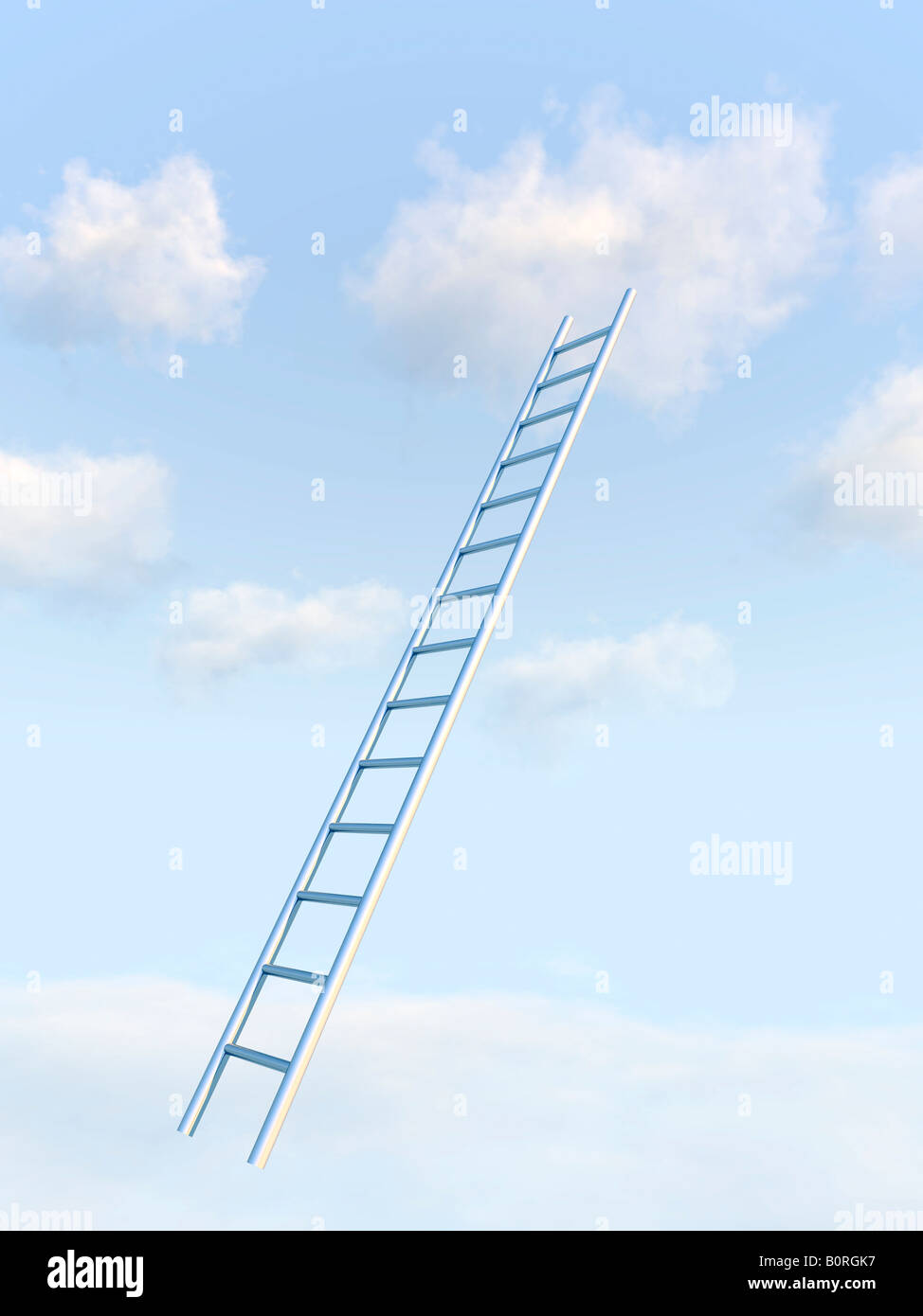 Ladder rising into blue sky. - Stock Image