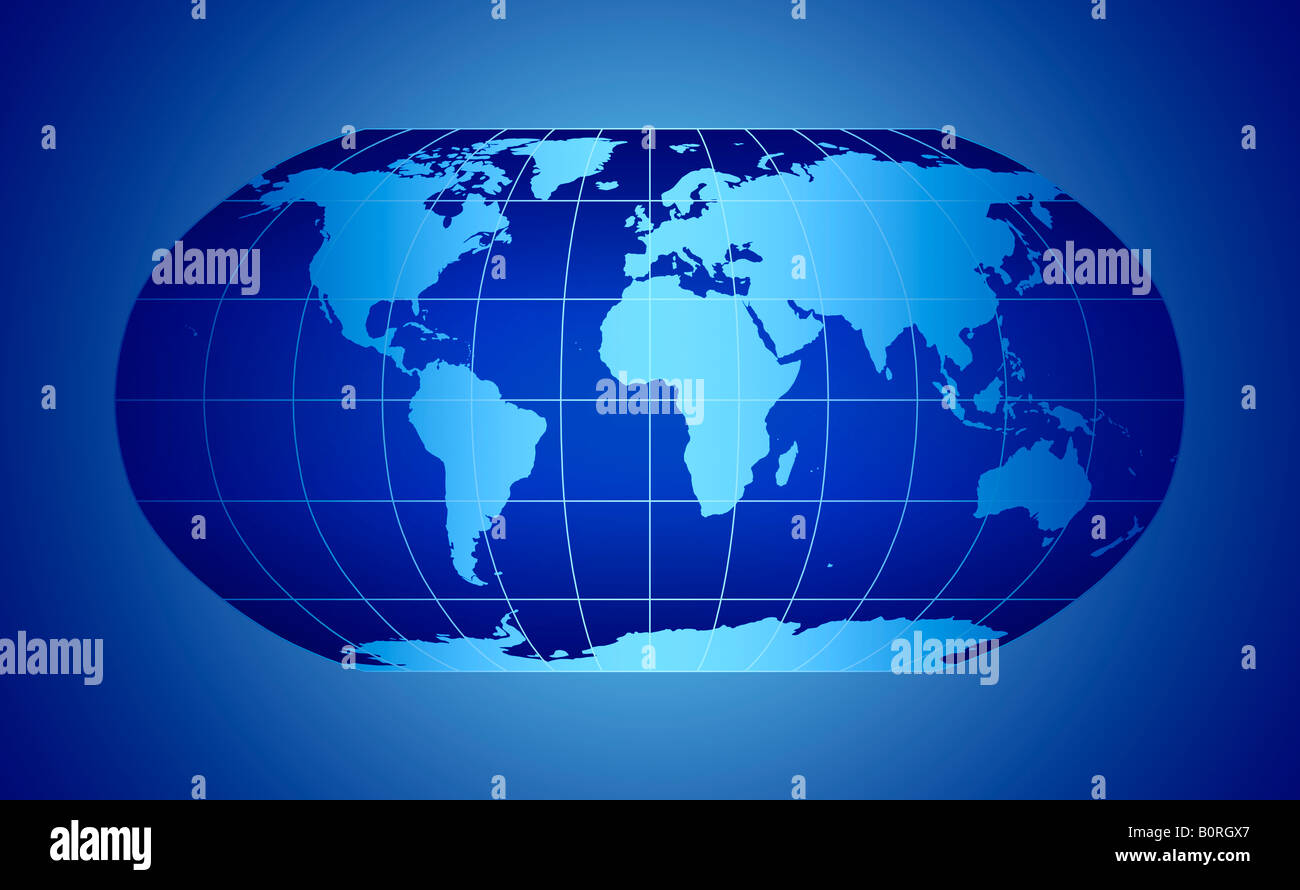 Globe Map Projections.Blue World Map Projection Stock Photo 17728543 Alamy
