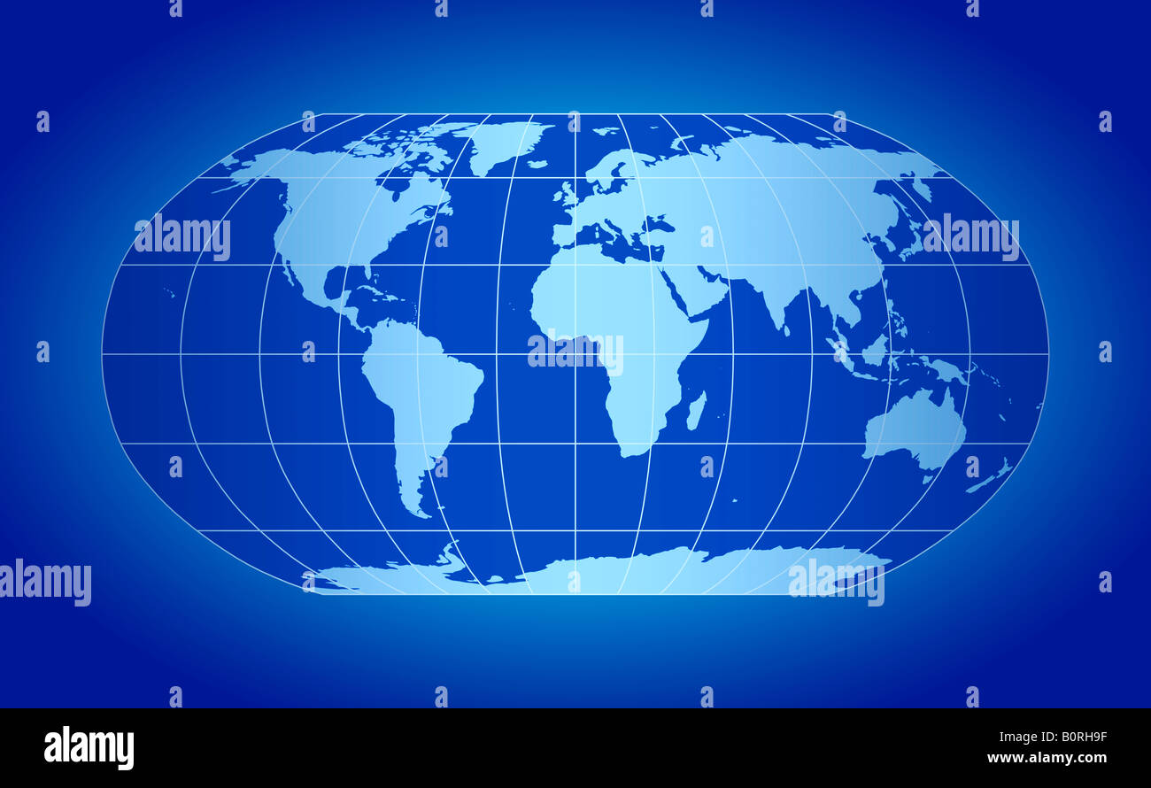 Globe Map Projections.Blue World Map Projection Stock Photo 17728859 Alamy