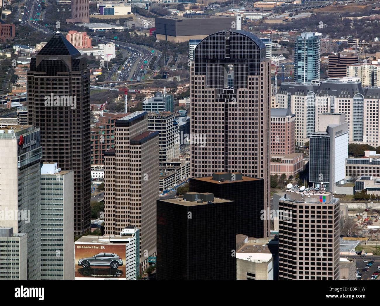 aerial above Dallas Texas with JP Morgan Chase tower center and adjacent buildings - Stock Image
