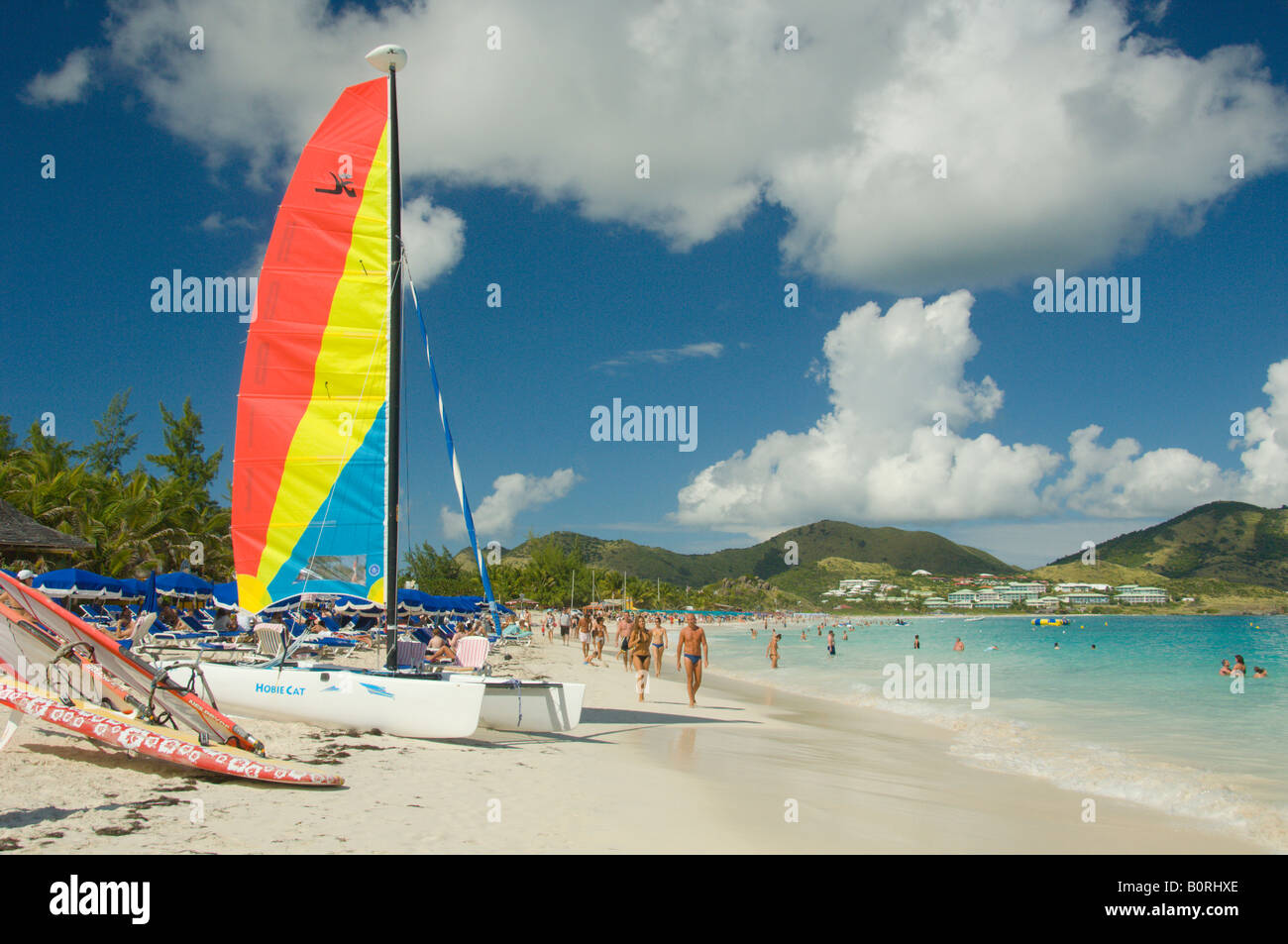 Orient Beach sail boat and beach activities in Saint Martin French Protectorate - Stock Image