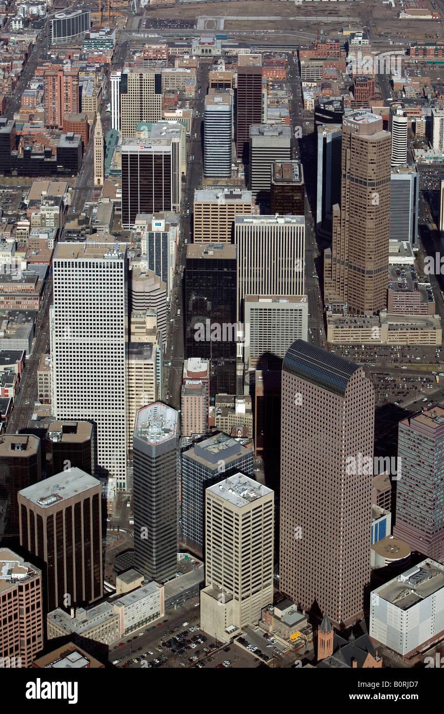 Aerial above downtown Denver Colorado financial district - Stock Image