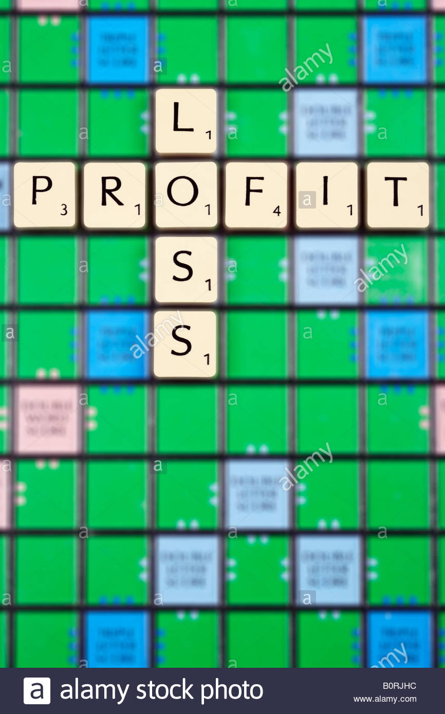 Profit and loss with blurred background game. Stock Photo