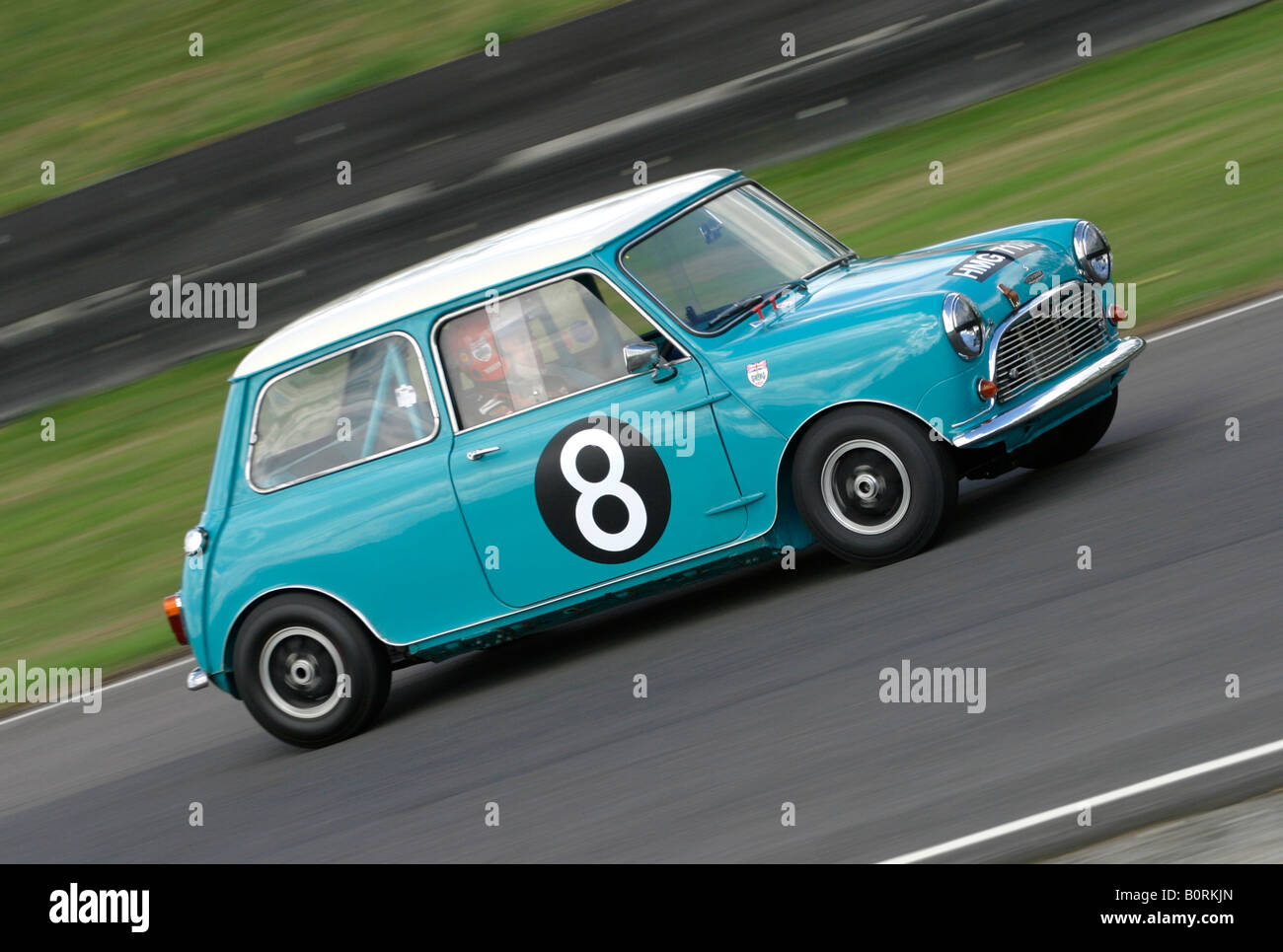 """1964 Austin Mini Cooper S at Goodwood Revival, Sussex, UK. Driver - Barrie """"Whizzo"""" Williams. Stock Photo"""