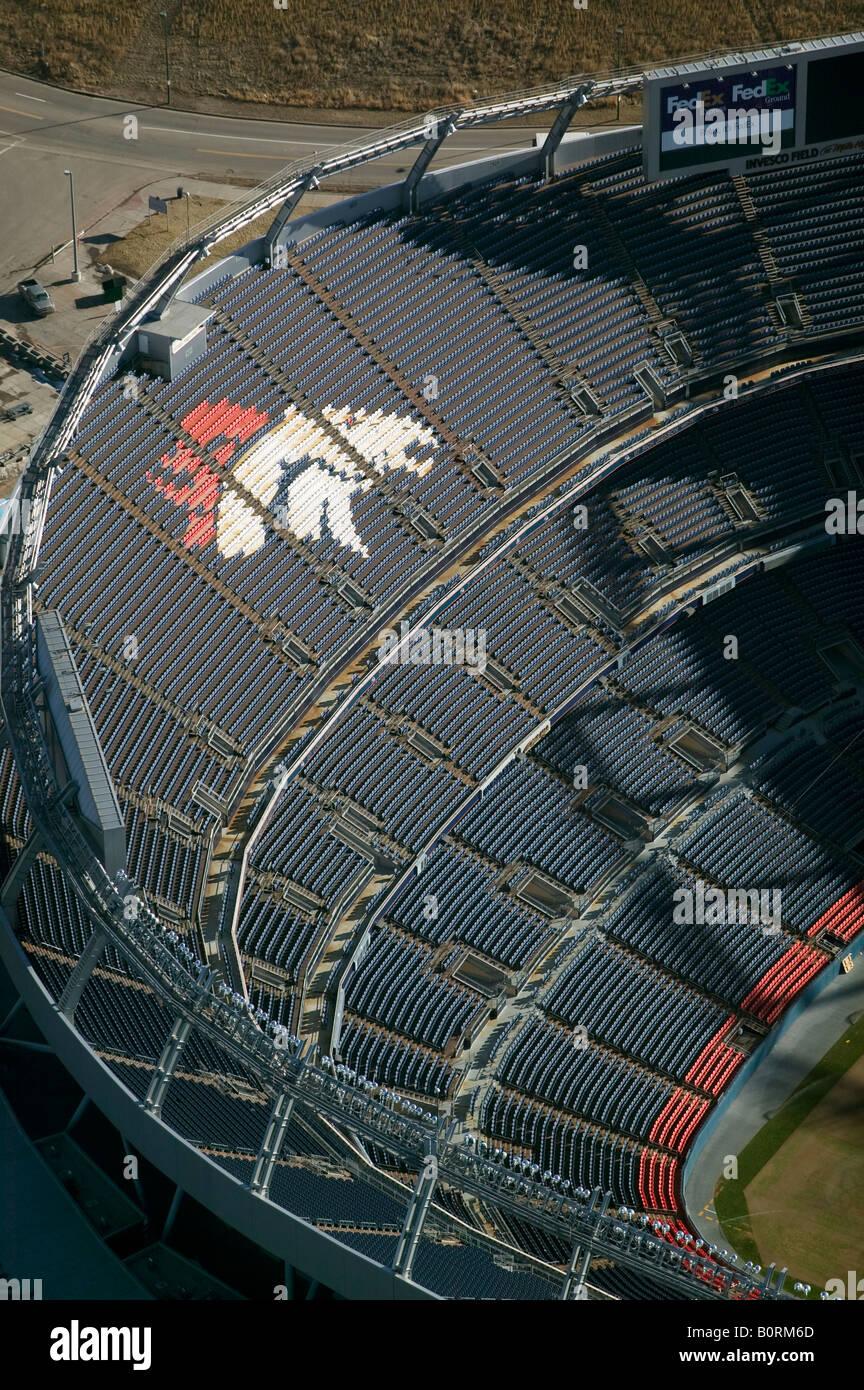 Aerial above INVESCO Denver Broncos football stadium Colorado - Stock Image