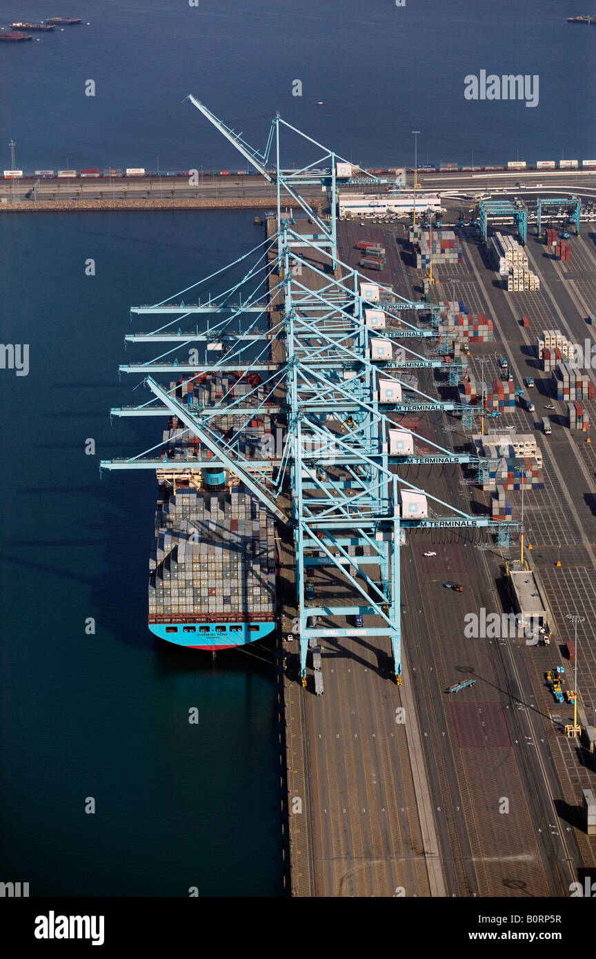 aerial above Maersk Line unloading at APM Terminals Port of Los Angeles, California - Stock Image