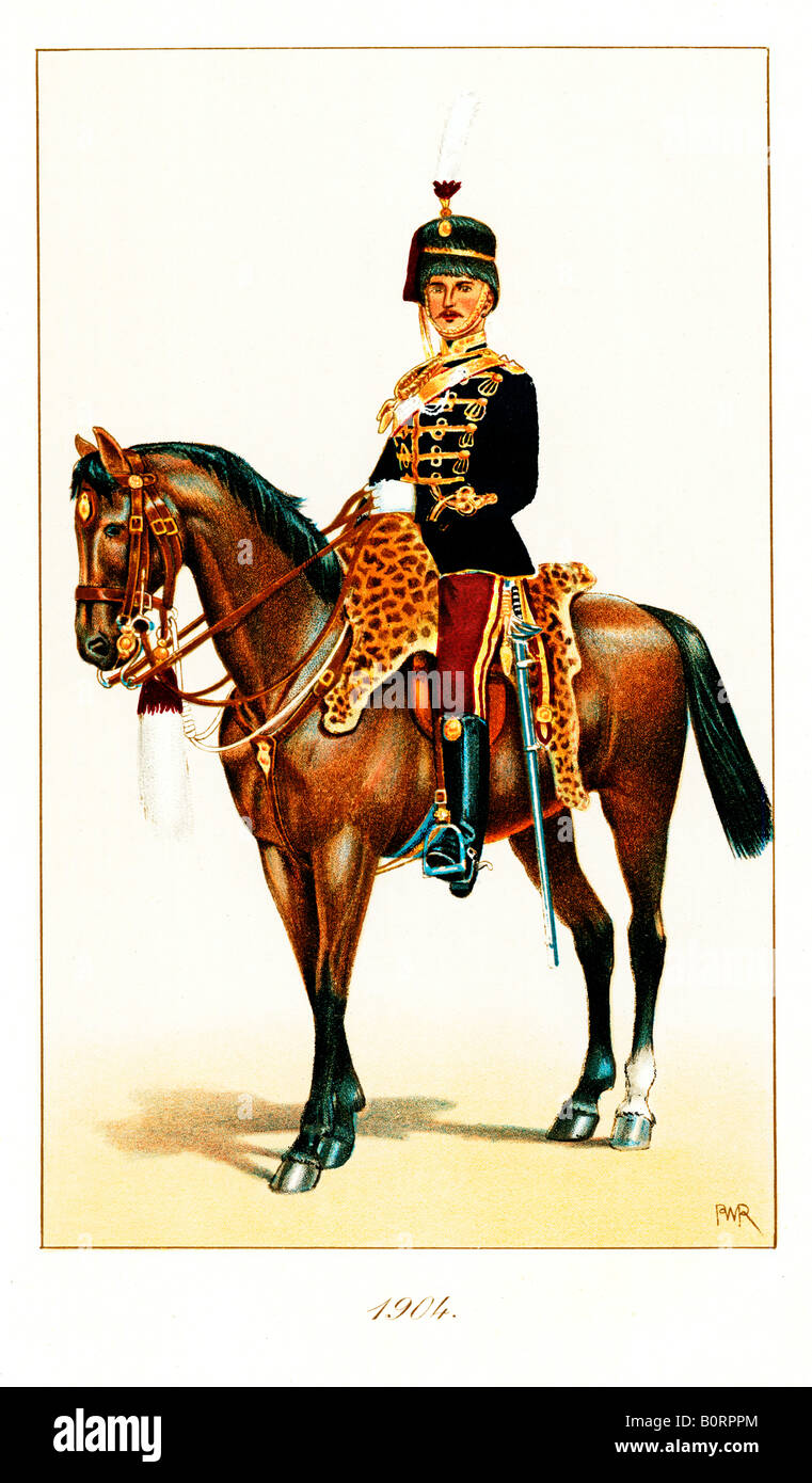 Officer 11th Hussars 1904 print of the British cavalry regiment Prince Alberts Own the Cherry Pickers - Stock Image