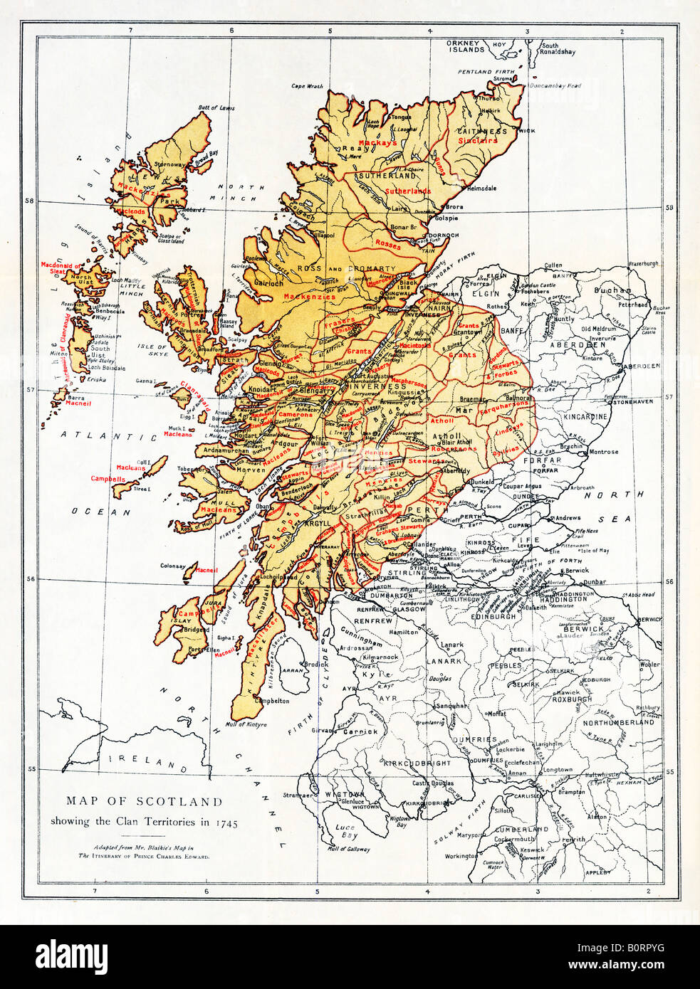 Scotland Clan Territories 1745 map of the Highland Clans at the rebellion  of Bonnie Prince Charlie