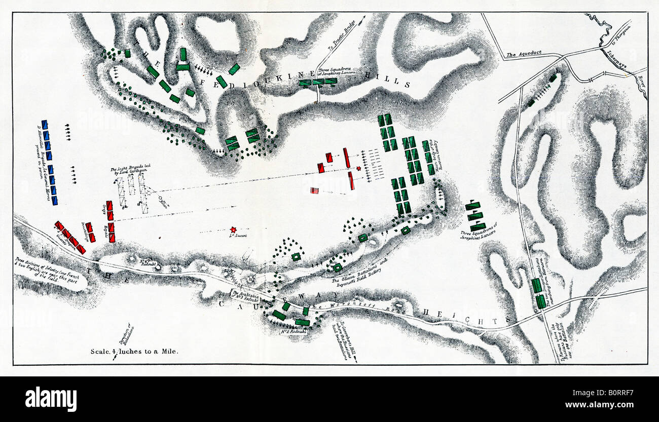 The Charge of the Light Brigade 1854 map of the action at the Balaclava in the Crimea 673 cavalrymen to the fore - Stock Image