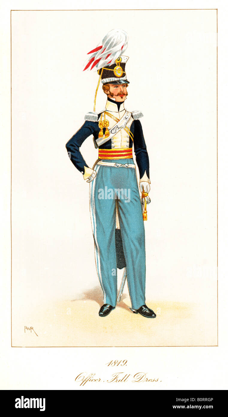 Officer 11th Light Dragoons 1819 print of full dress uniform of the regiment later the 11th Hussars Prince Alberts - Stock Image