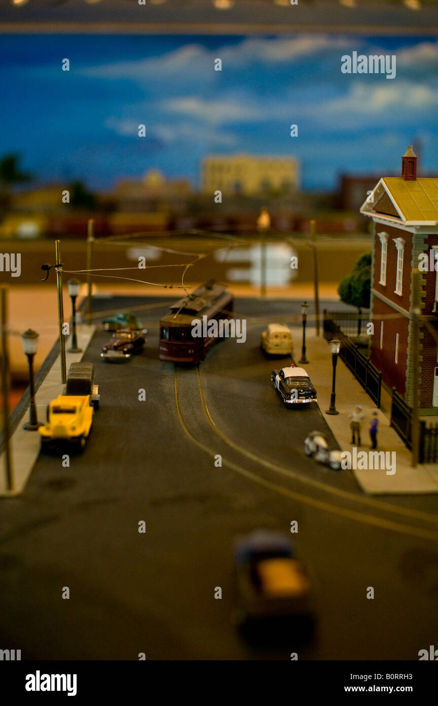 A small town that is part of an electric train set Stock Photo