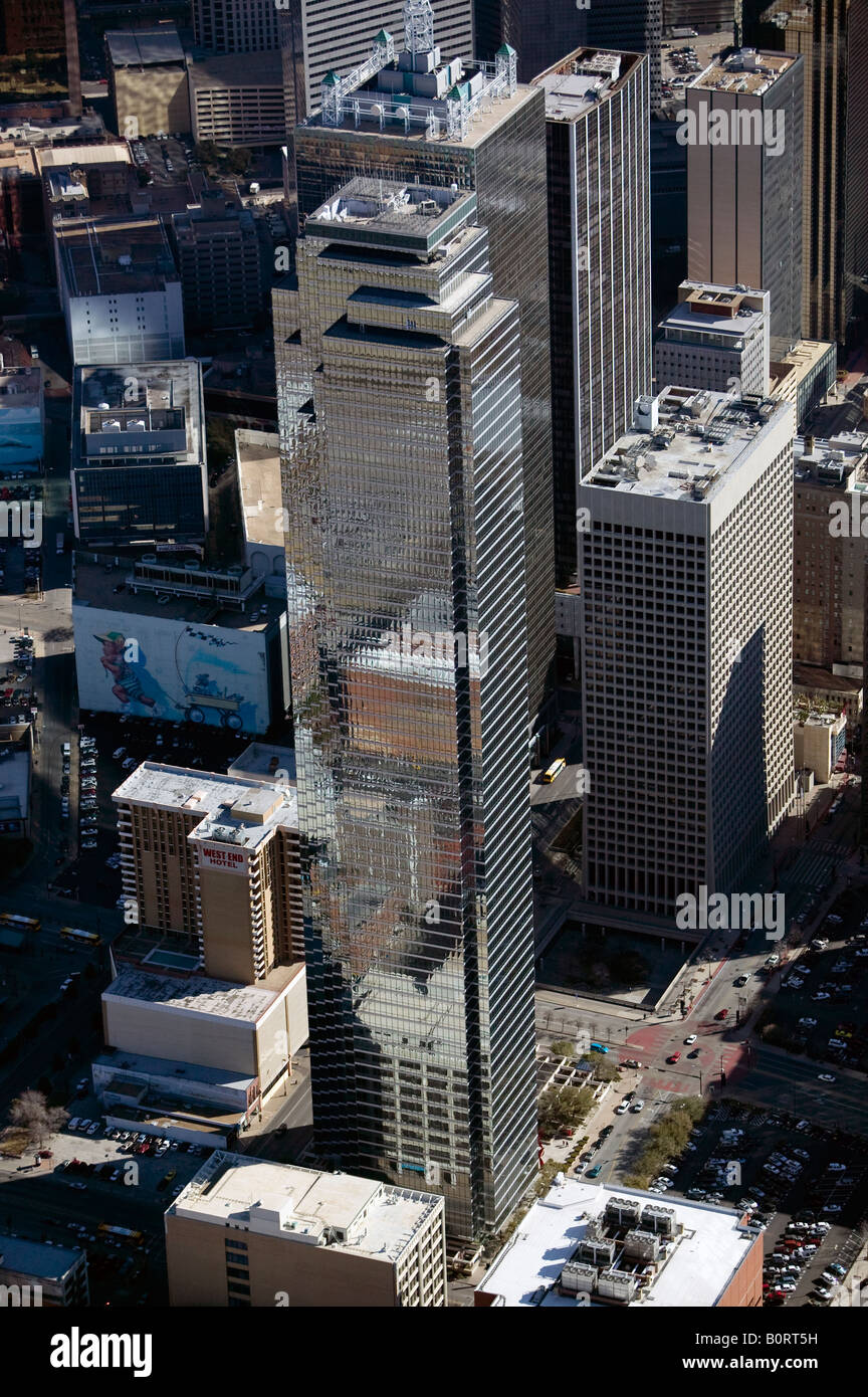 aerial above Bank of America Plaza Dallas Texas JPJ Architects 901 Main St - Stock Image