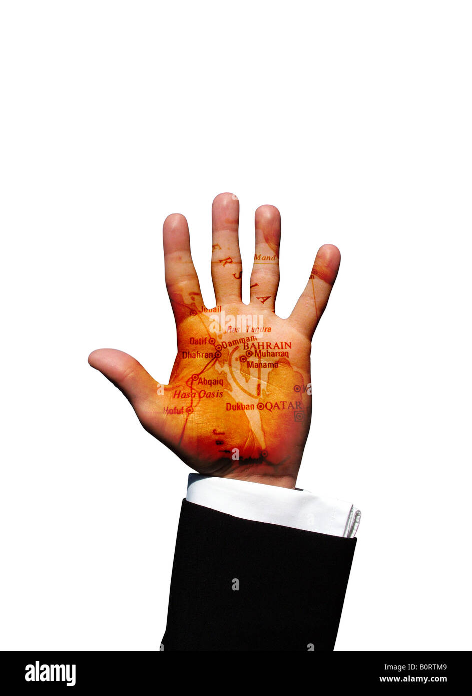 Bahrain map on palm of businessman hand in air - Stock Image