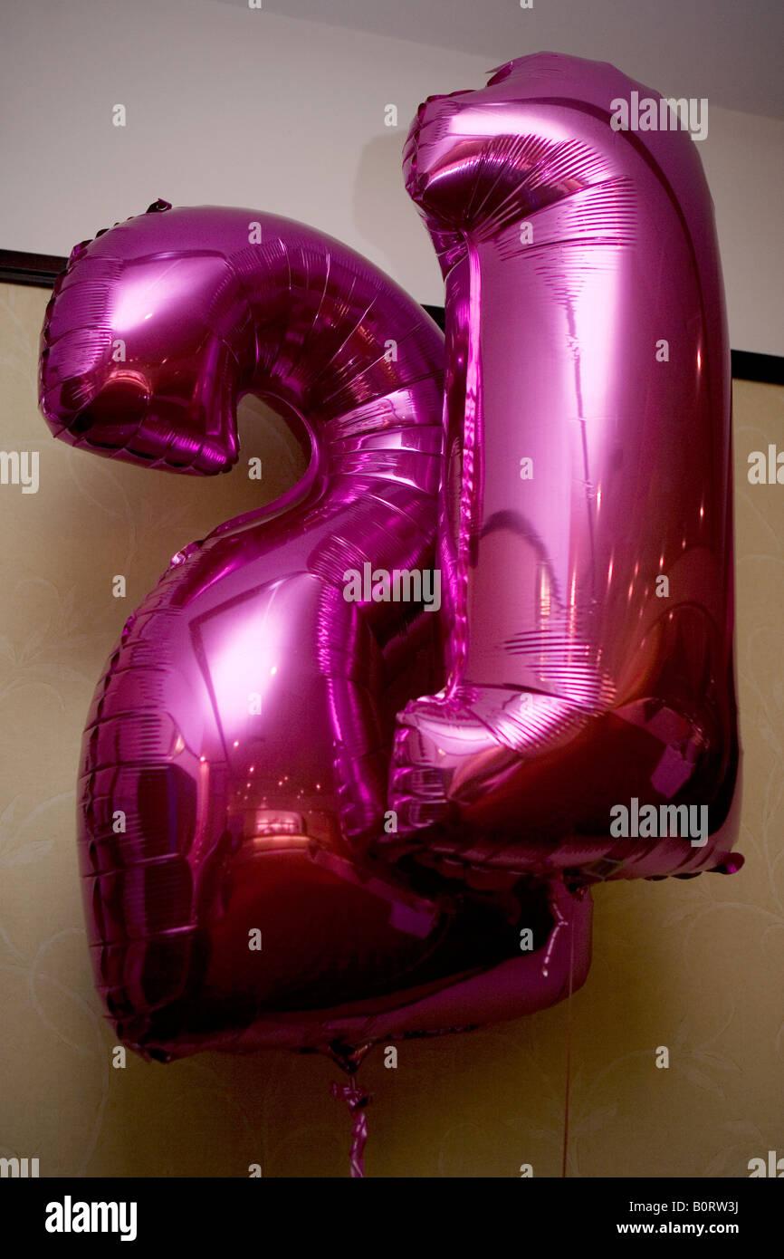 21st Birthday Balloons Stock Photos & 21st Birthday Balloons