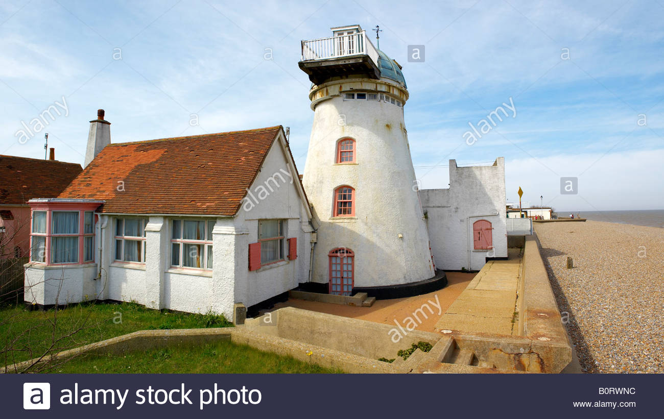 Old wind mill on the coast - Aldeburgh - Suffolk England - Stock Image