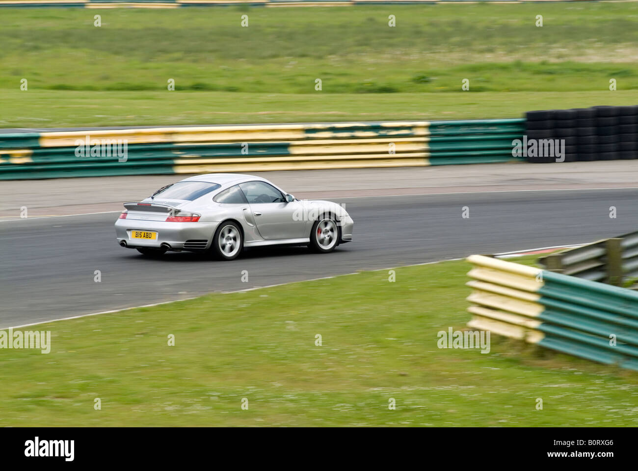 porsche 911 turbo 996 fast car supercar super track day trackday race circuit racing road car - Stock Image