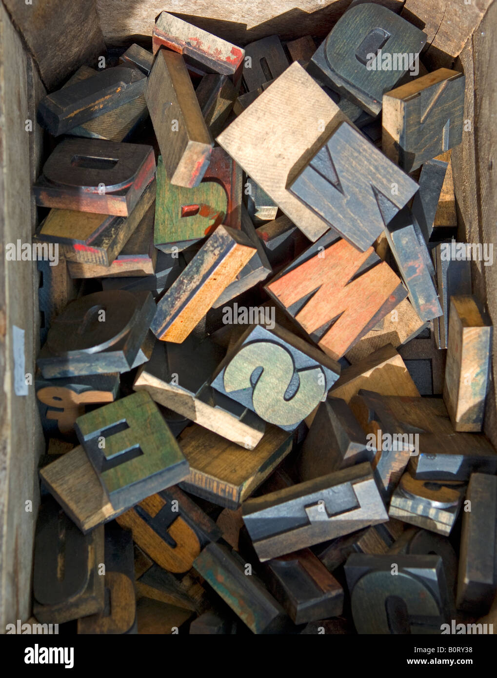 woodblock letters - Stock Image