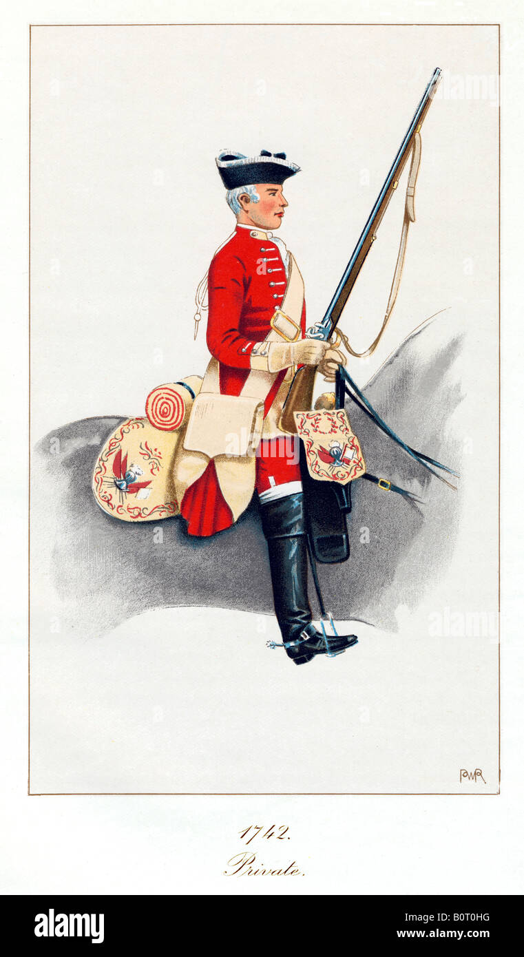 Private, Kerrs Dragoons, 1742 cavalry regiment, later 11th Light Dragoons and 11th Hussars Prince Alberts Own - Stock Image