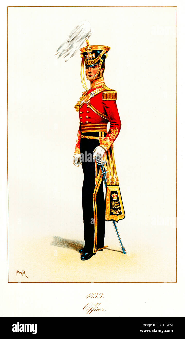 Officer 11th Light Dragoons 1833 print of the British cavalry regiment soon to be the 11th Hussars Prince Alberts - Stock Image