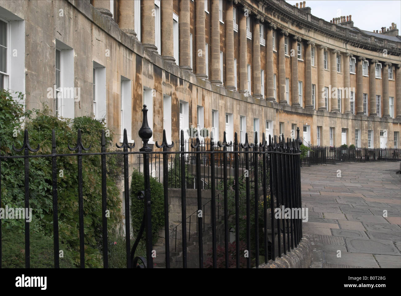 Georgian Architecture of The Royal Crescent, City of Bath, Somerset, England, UK. A UNESCO World Heritage Site. Stock Photo
