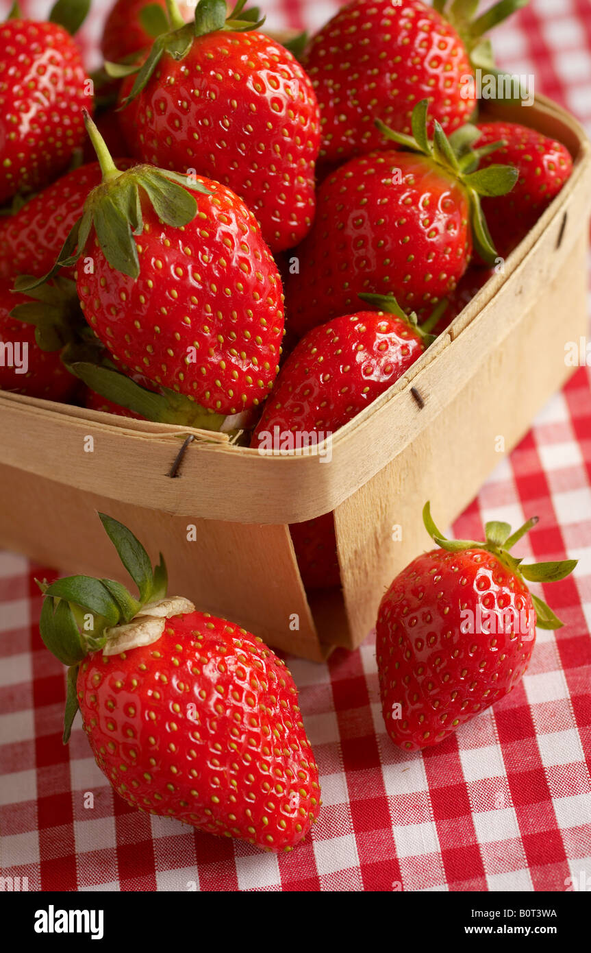 Punnet of fresh strawberries on gingham tablecloth - Stock Image