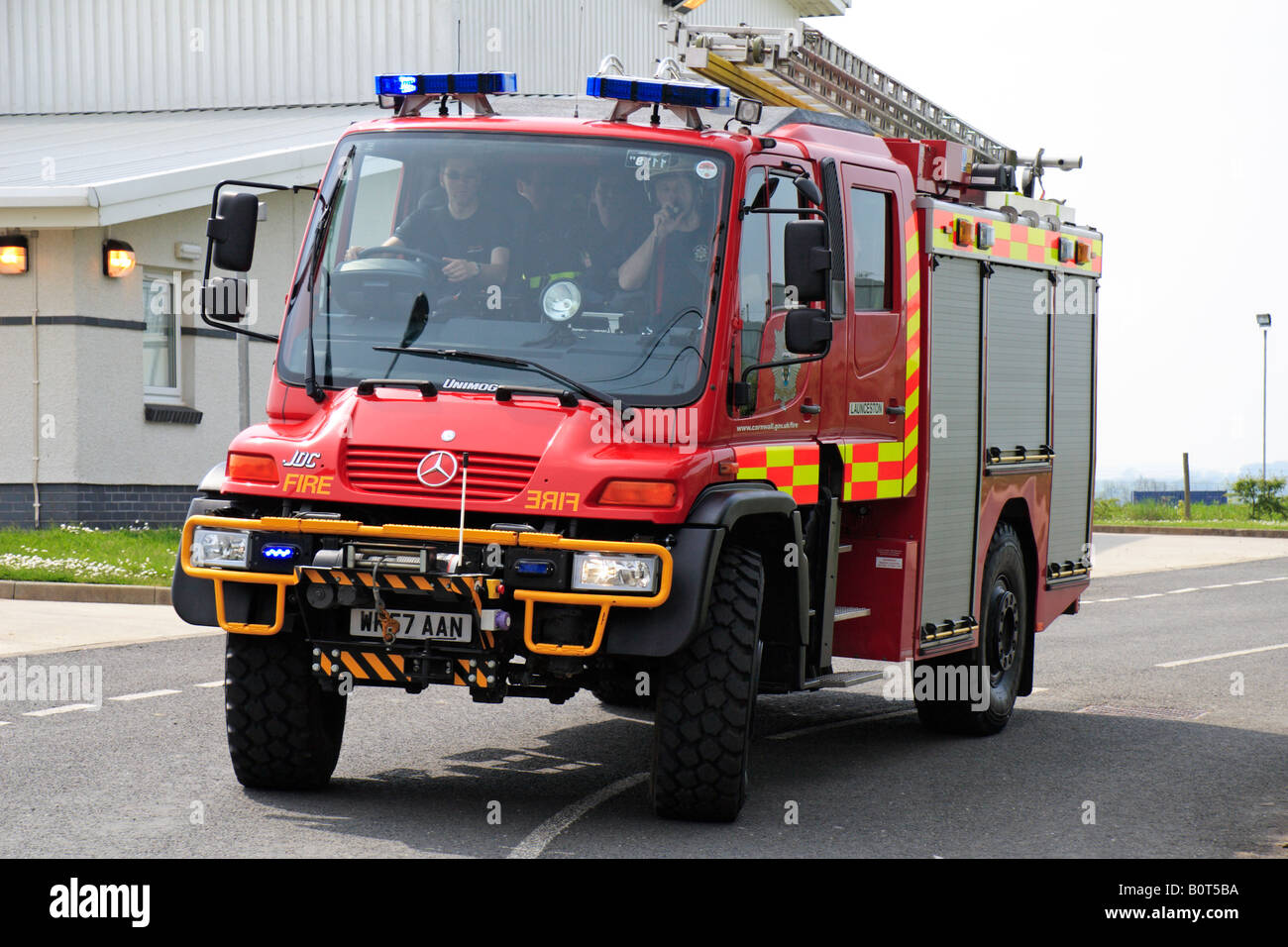 Mercedes Unimog Fire Engine Turning Out From Launceston