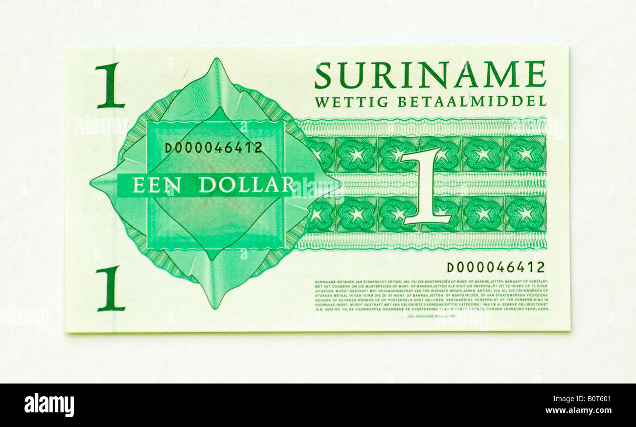 Suriname 1 Dollar bank note - Stock Image
