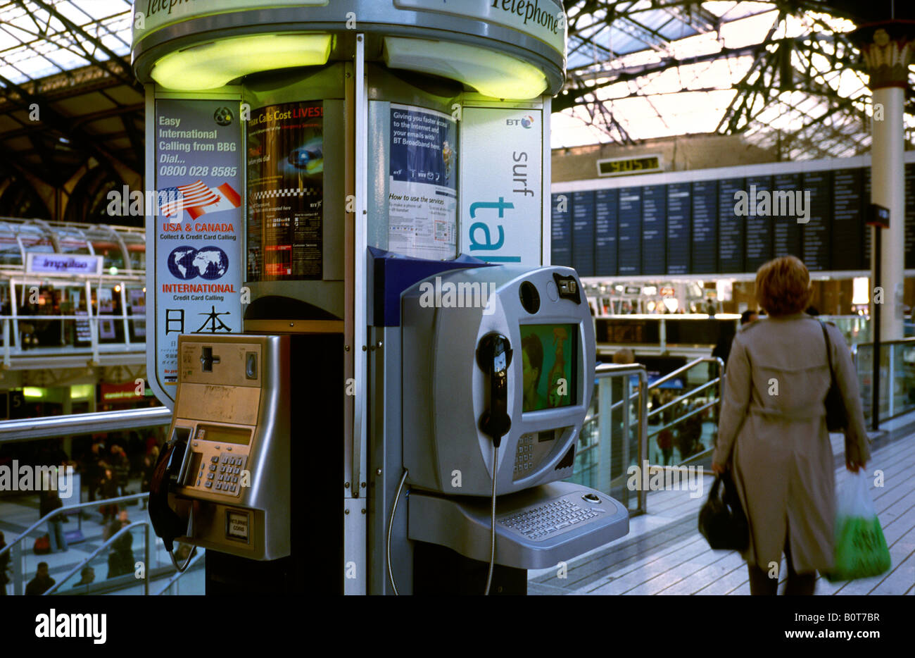 Oct 6, 2003 - Broadband BT payphone with Internet access at Liverpool St. Station in London. - Stock Image
