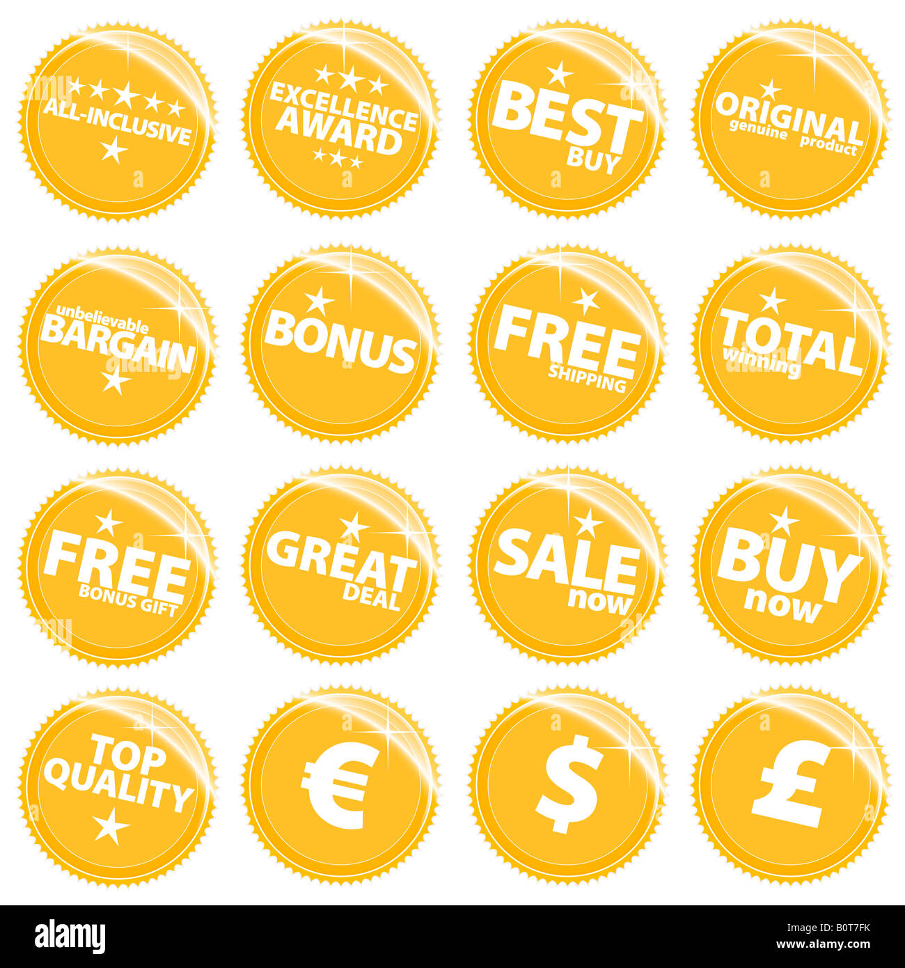 Vector illustration of a set of golden retail web icons tags or stickers with various sale slogans - Stock Image