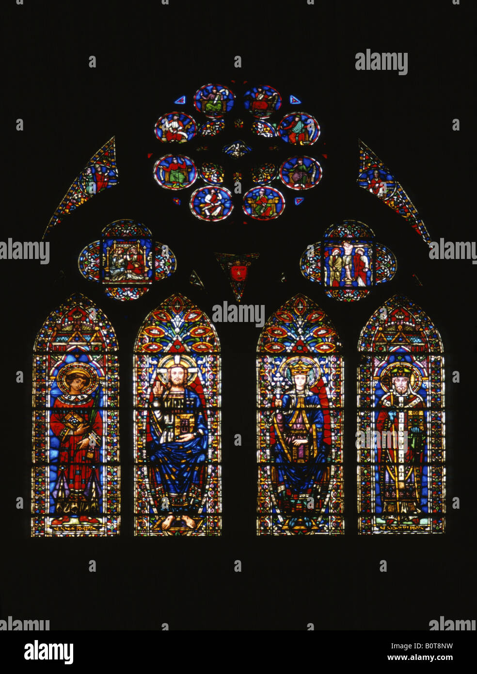 Stained Glass window in St Etienne Cathedral in Cahors Lot France Stock Photo