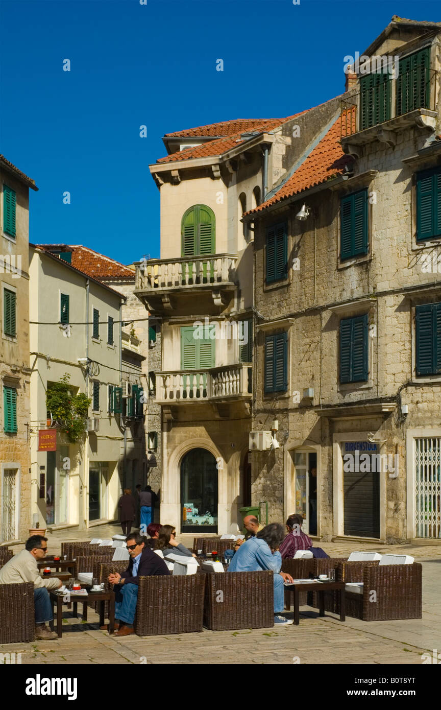 People in a cafe in Grad the old town of Split Croatia Europe - Stock Image