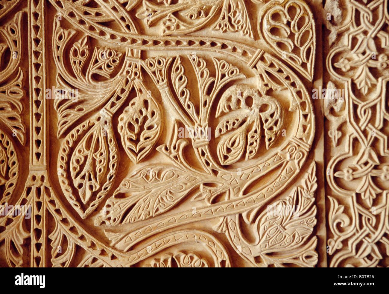 Detail of arabesque. Hall of Abd Al Rahman III. Medina Azahara. Cordoba province. Andalusia. Spain. - Stock Image