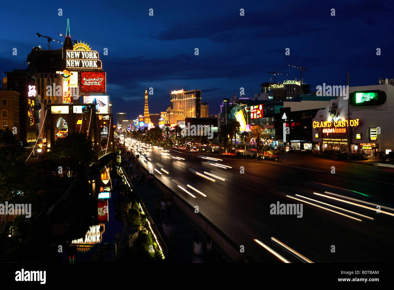 The Strip at Night in Las Vegas Nevada USA - Stock Image
