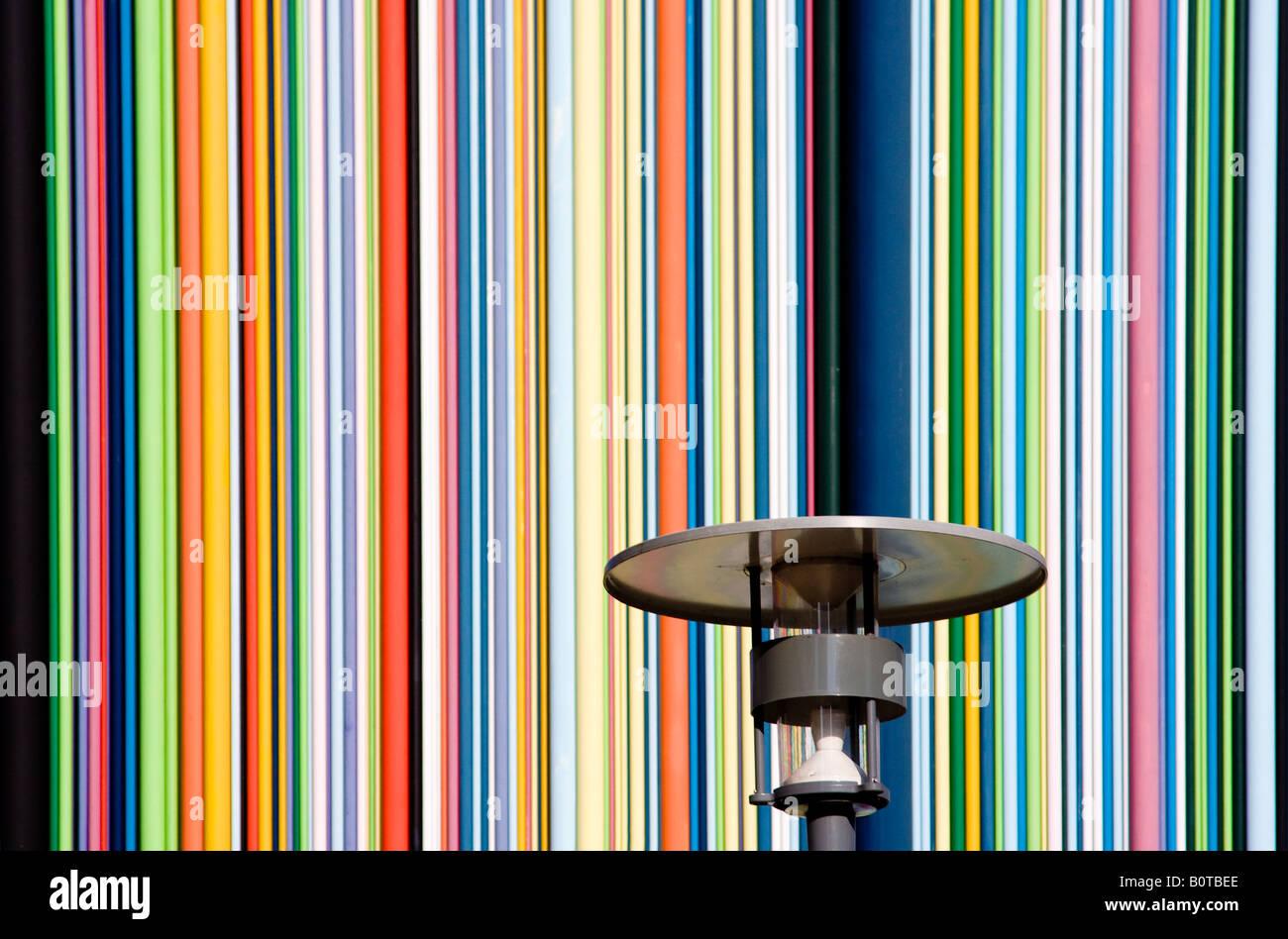 Street lamp over graphical background, Moretti Chimney Paris La Defense - Stock Image
