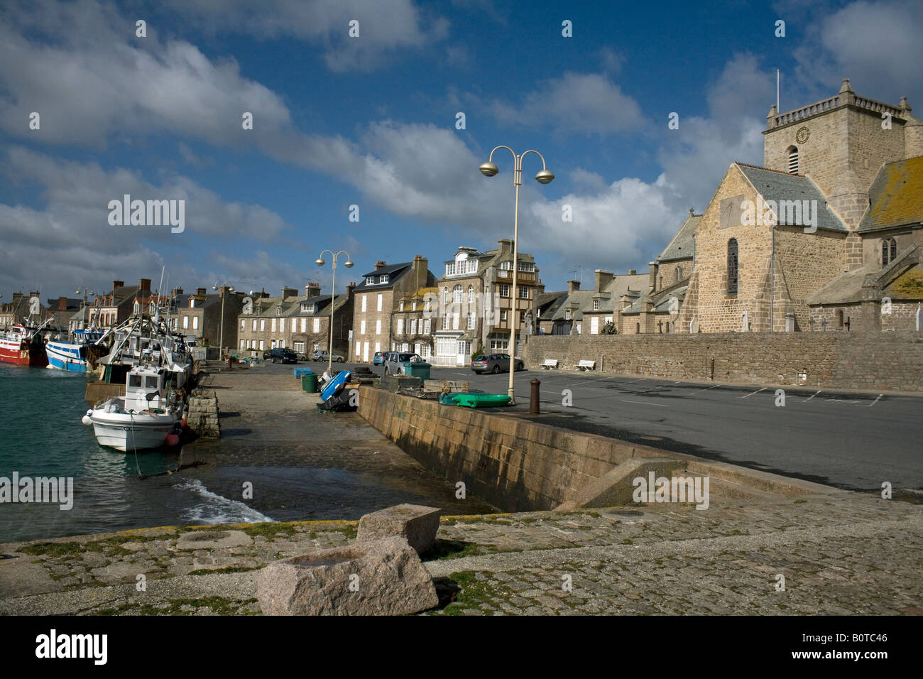 Pituresque harbour Barfleur in Normandy - Stock Image