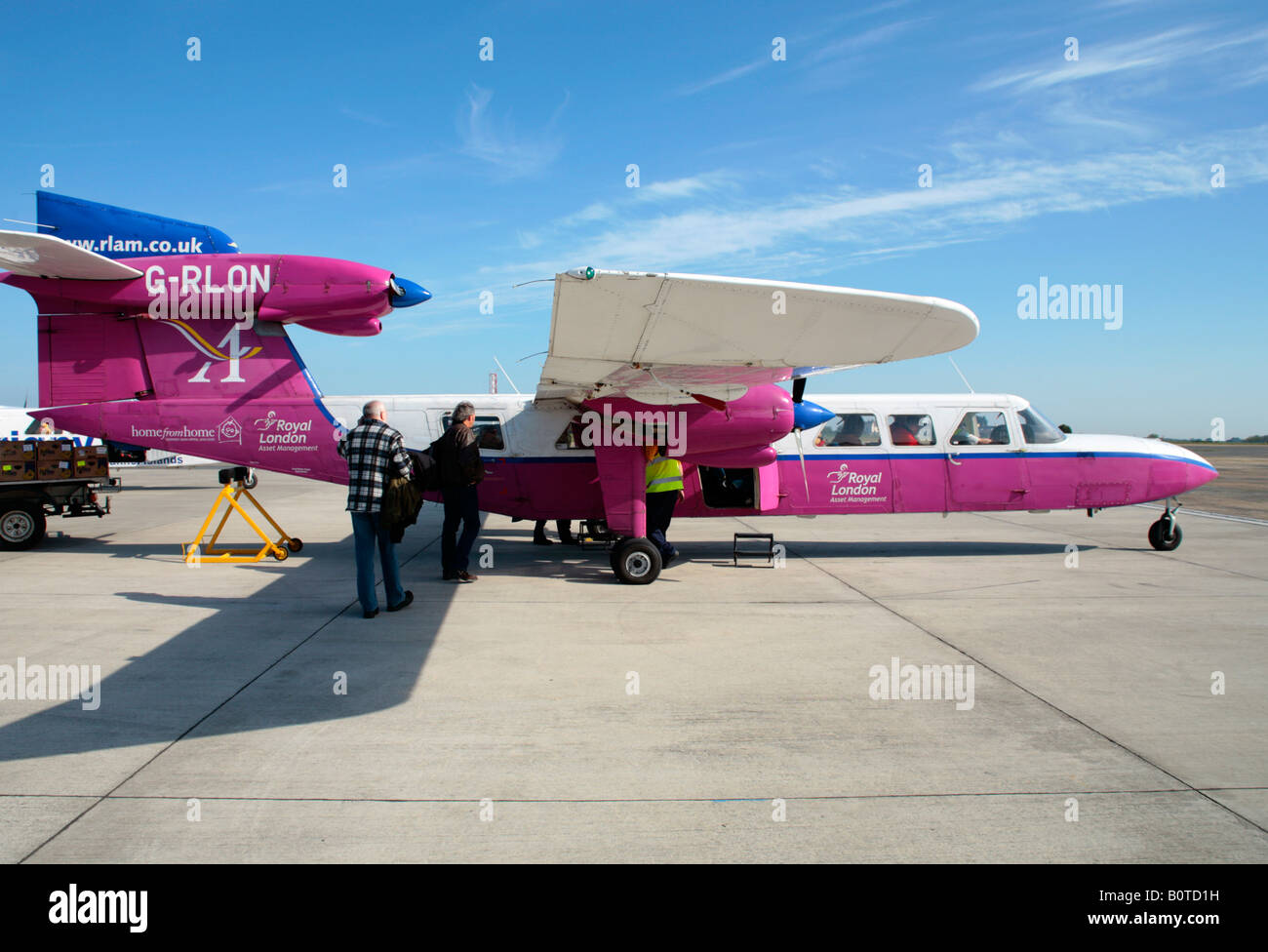 airoplane at the airport, Guernsey Island - Stock Image