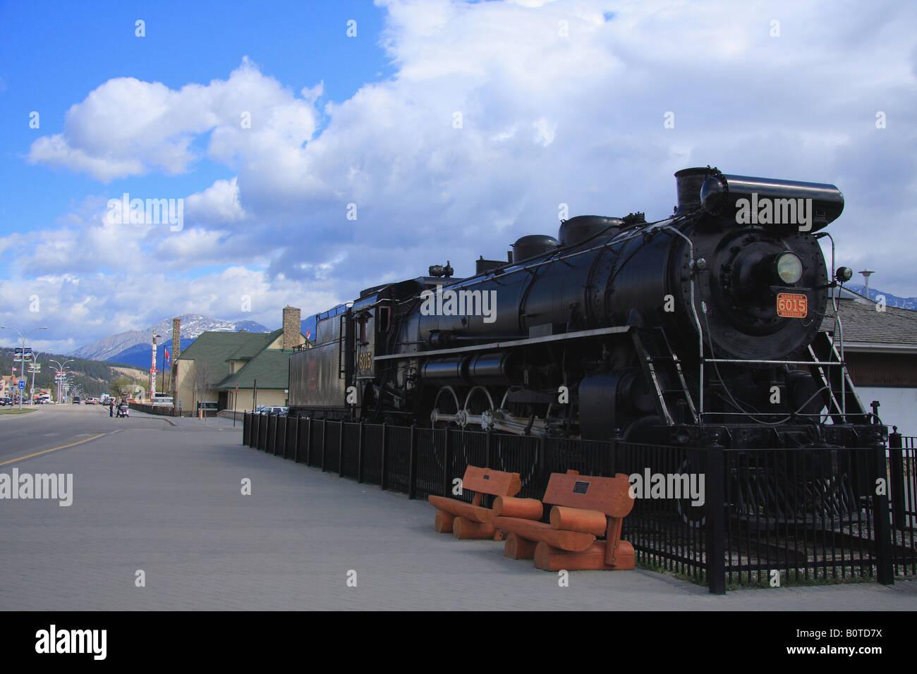 Old locomotive in Jasper village, Alberta Stock Photo