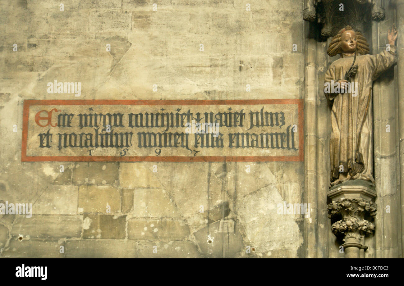 Inscription in latin, in gothic typography, in St. Stephen's Cathedral, in Vienna - Stock Image