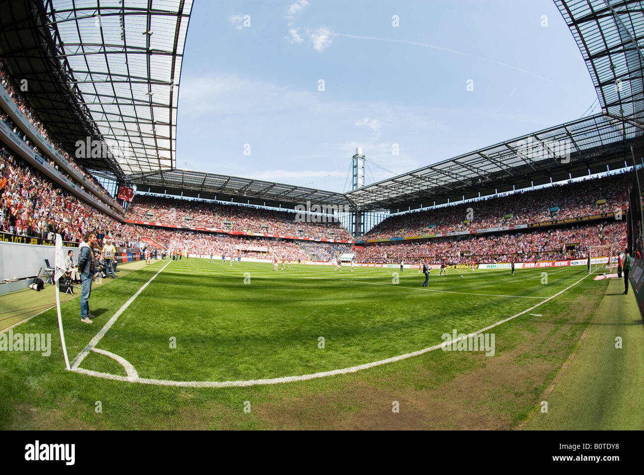 corner in filled football Stadium before kick-off - Stock Image