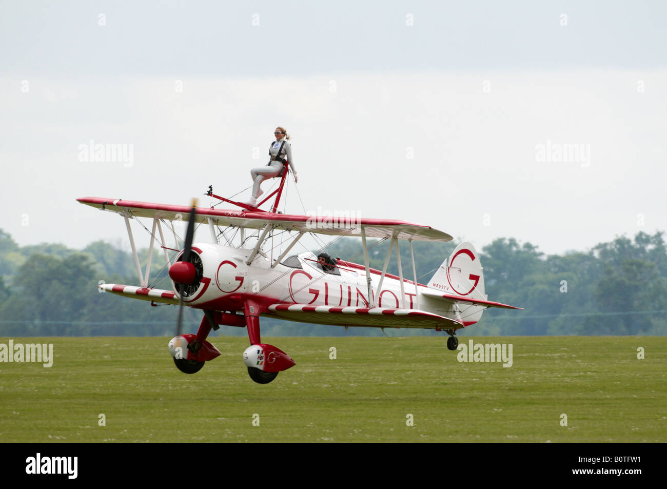 Boeing Stearman Team Guinot Wingwalking Blue Peter Duxford Air Show 2008 Zoe Salmon Stock Photo