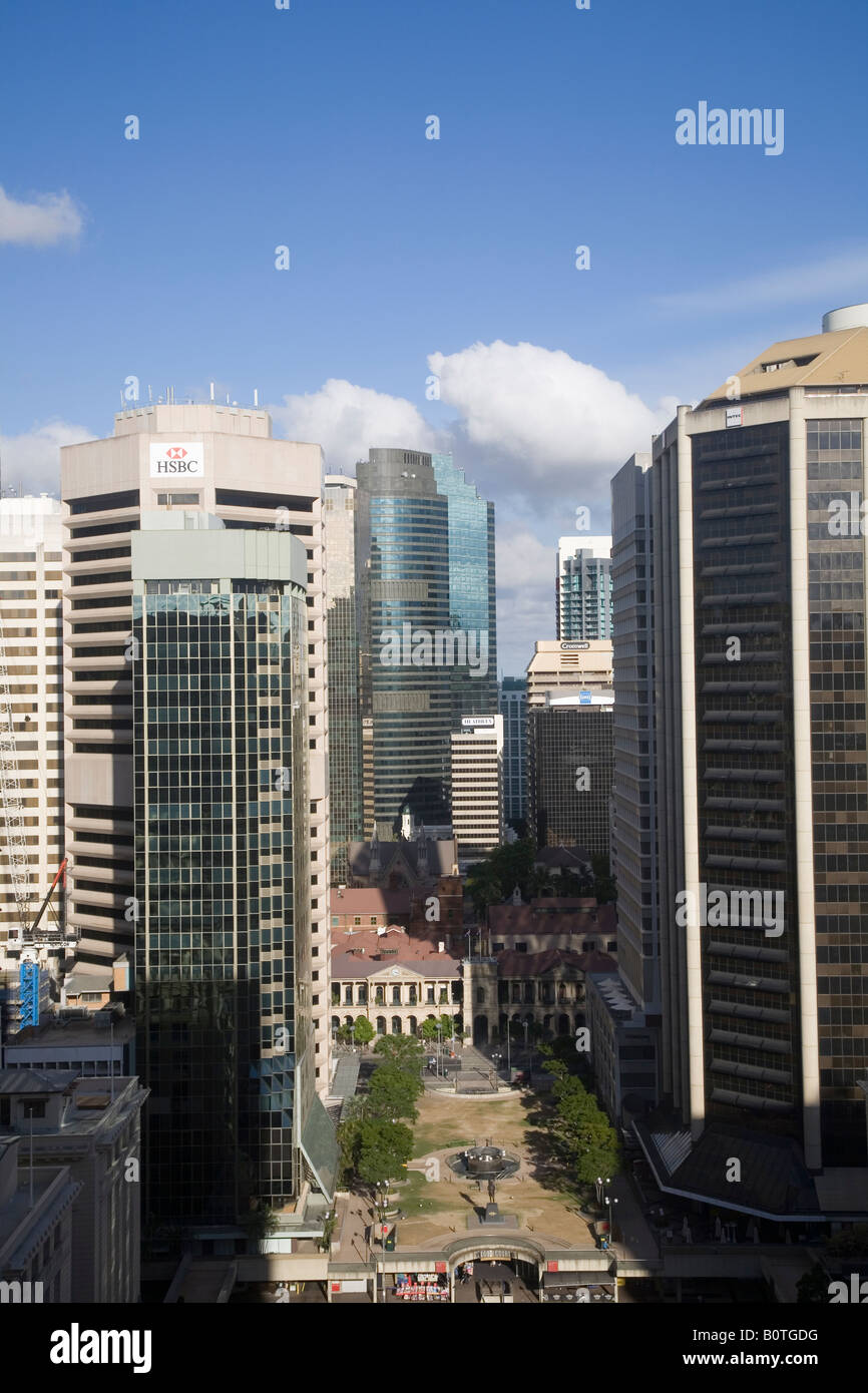 View over the Brisbane CBD and Anzac Square from Turbot Street - Stock Image