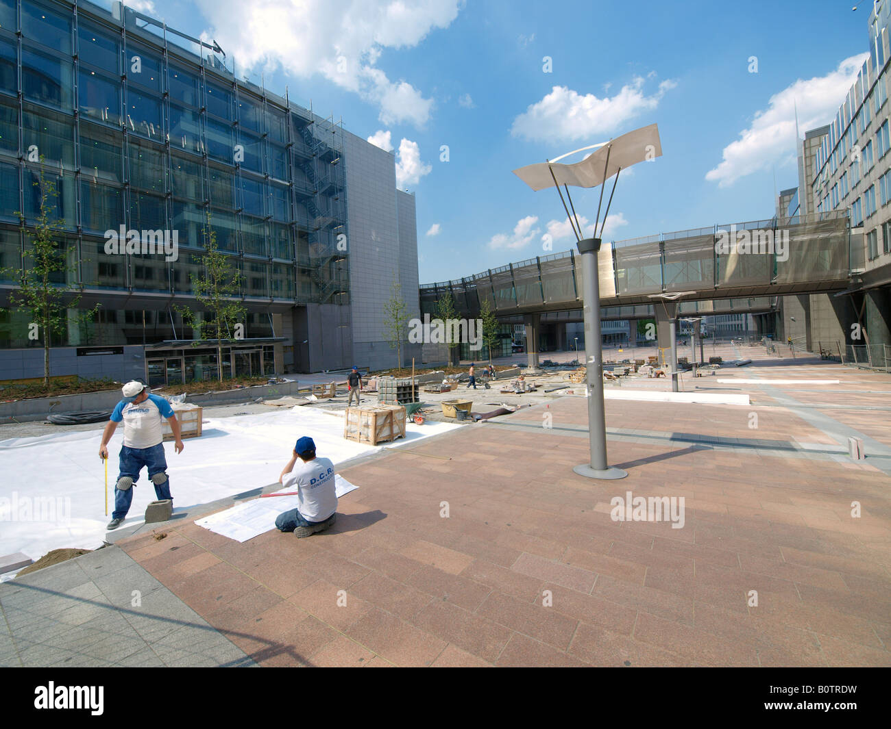 Construction work in the EU quarter of Brussels Belgium - Stock Image