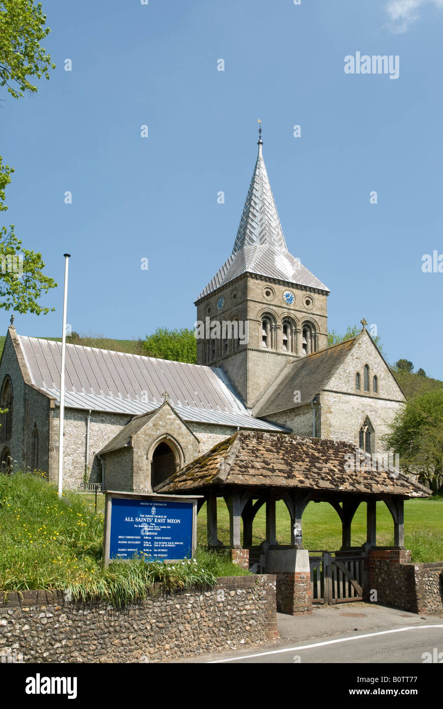 The parish church of All Saints, East Meon, Hampshire in the diocese of Portsmouth - Stock Image